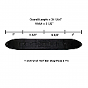 Trail FX 4 Inch Oval Step Pad with measurements