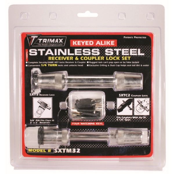 Trimax Hitch Receiver Lock and Coupler - Stainless Steel