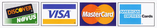 We gladly and securely accept Visa, MasterCard, American Express, and Discover